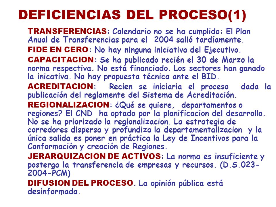 DEFICIENCIAS DEL PROCESO(1)