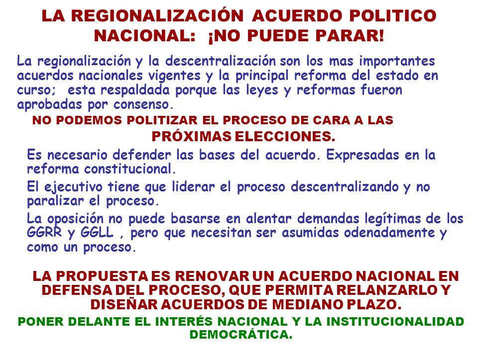LA REGIONALIZACIÓN ACUERDO POLITICO NACIONAL: ¡NO PUEDE PARAR!