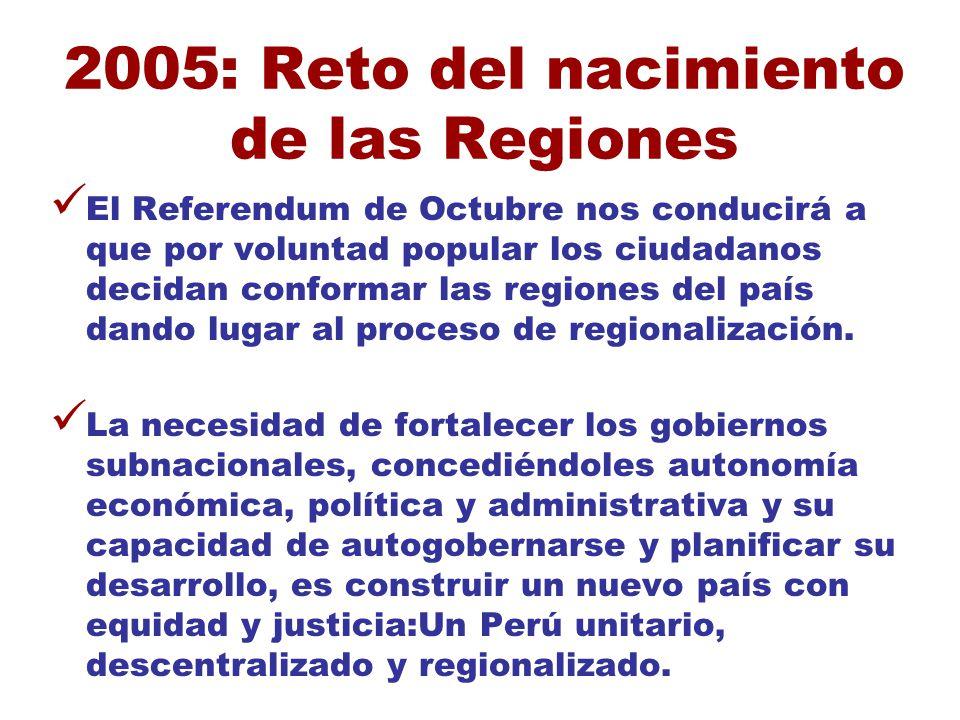 2005: Reto del nacimiento de las Regiones