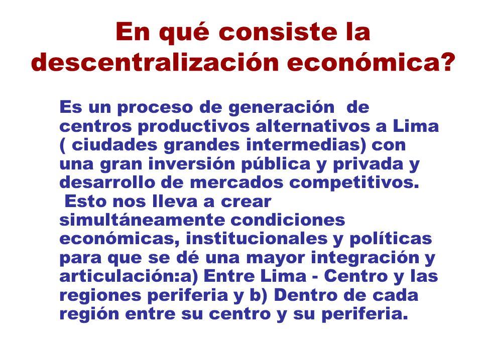 En qué consiste la descentralización económica