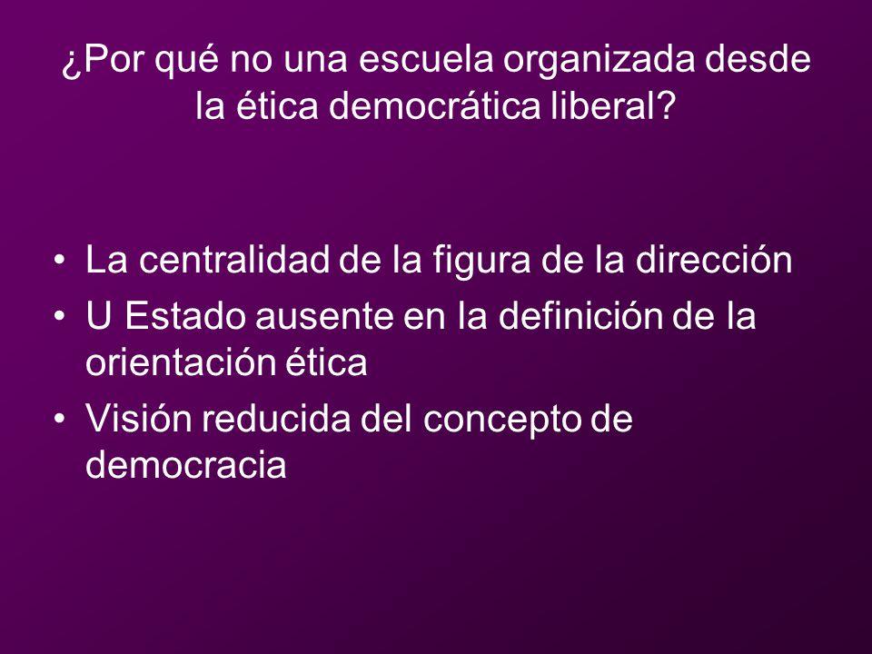 ¿Por qué no una escuela organizada desde la ética democrática liberal