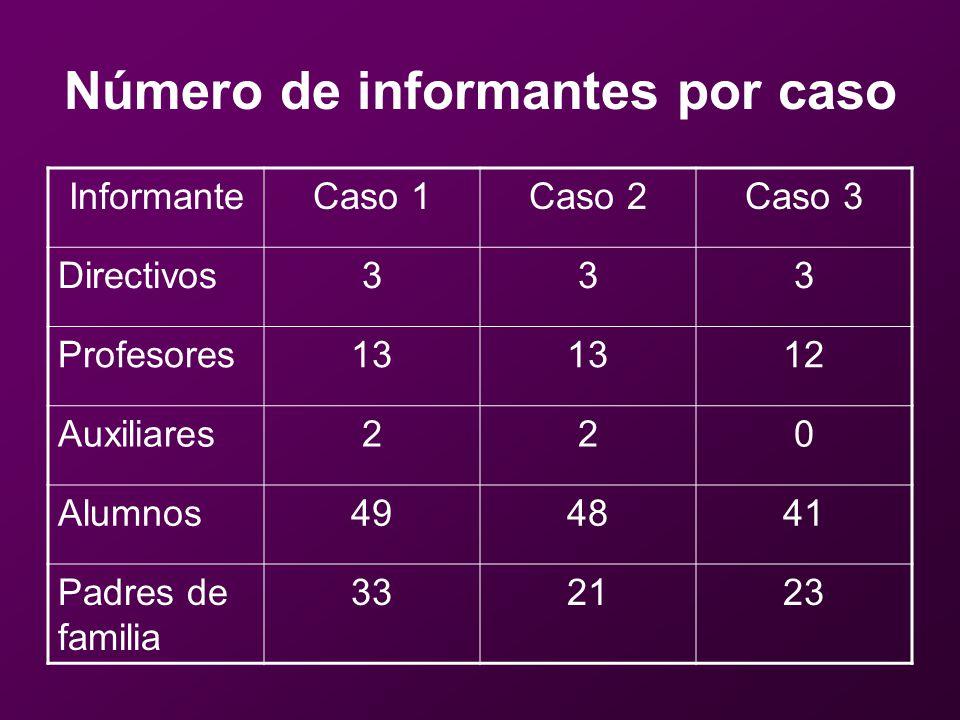 Número de informantes por caso