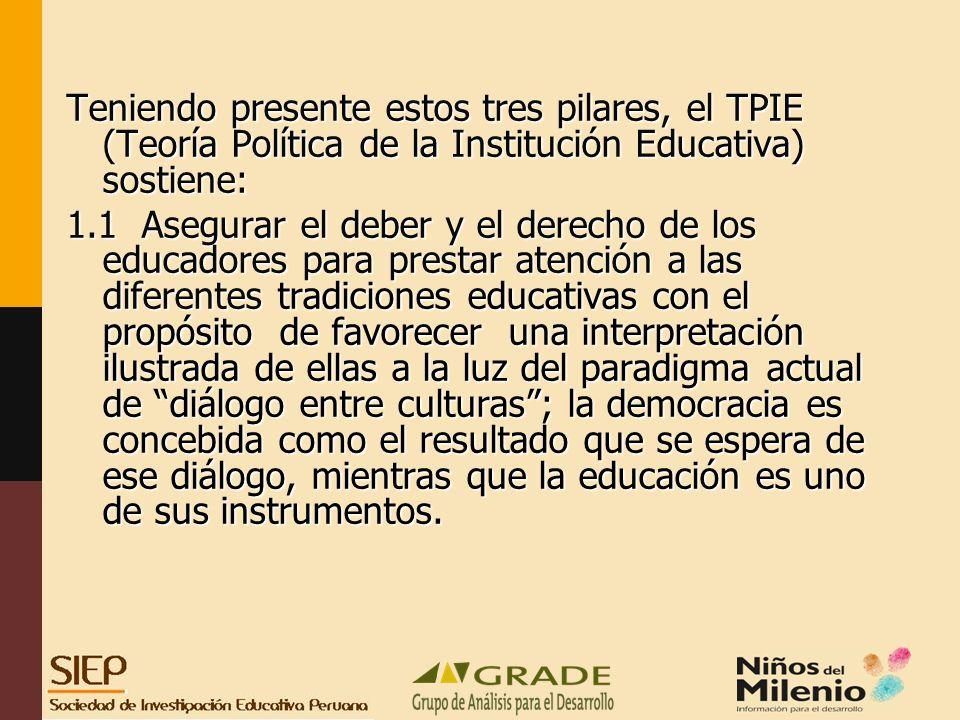 Teniendo presente estos tres pilares, el TPIE (Teoría Política de la Institución Educativa) sostiene: