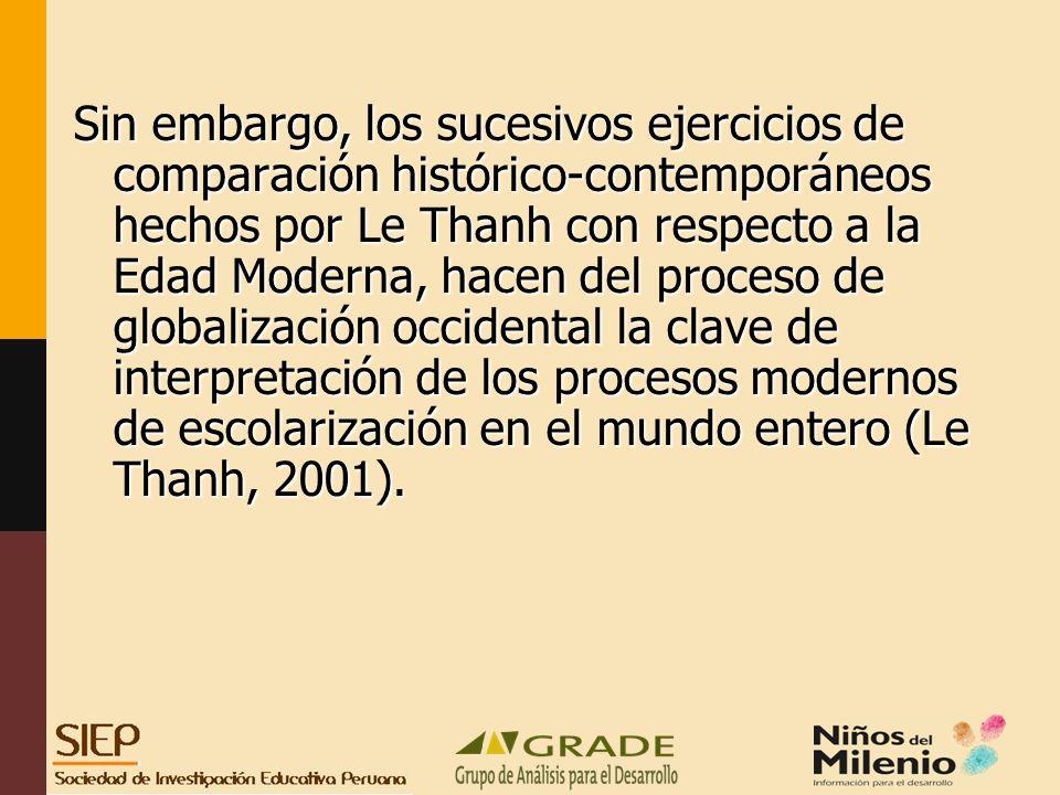 Sin embargo, los sucesivos ejercicios de comparación histórico-contemporáneos hechos por Le Thanh con respecto a la Edad Moderna, hacen del proceso de globalización occidental la clave de interpretación de los procesos modernos de escolarización en el mundo entero (Le Thanh, 2001).