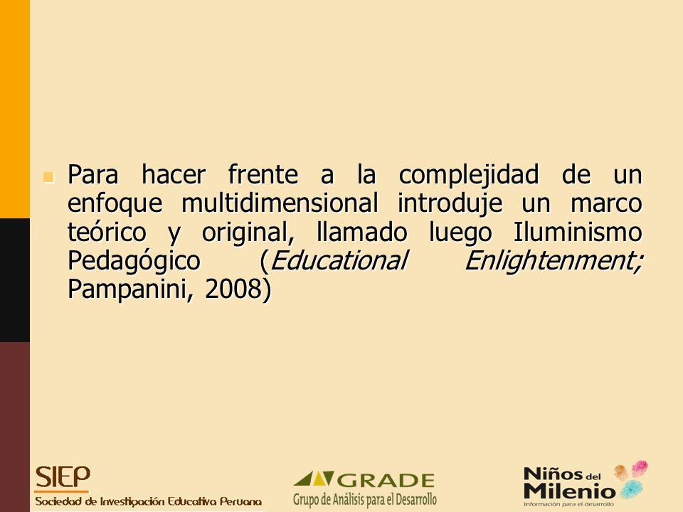 Para hacer frente a la complejidad de un enfoque multidimensional introduje un marco teórico y original, llamado luego Iluminismo Pedagógico (Educational Enlightenment; Pampanini, 2008)