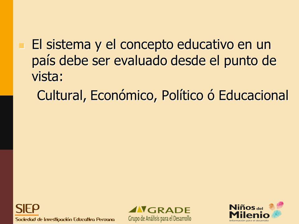 El sistema y el concepto educativo en un país debe ser evaluado desde el punto de vista: