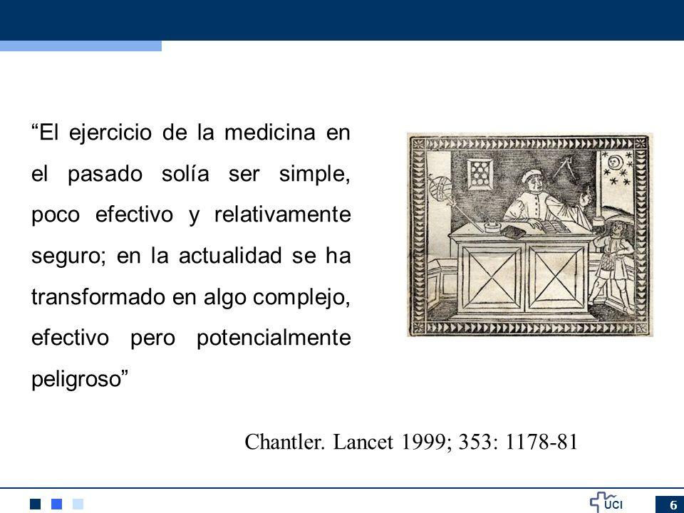El ejercicio de la medicina en el pasado solía ser simple, poco efectivo y relativamente seguro; en la actualidad se ha transformado en algo complejo, efectivo pero potencialmente peligroso