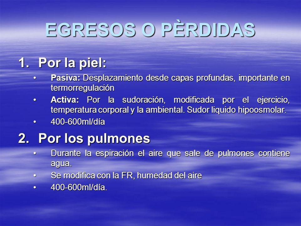EGRESOS O PÈRDIDAS Por la piel: Por los pulmones
