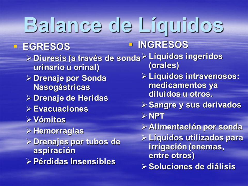 Balance de Líquidos INGRESOS EGRESOS Líquidos ingeridos (orales)