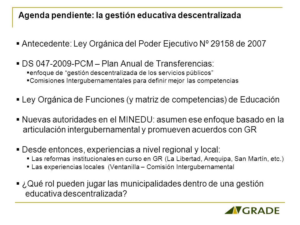 Agenda pendiente: la gestión educativa descentralizada
