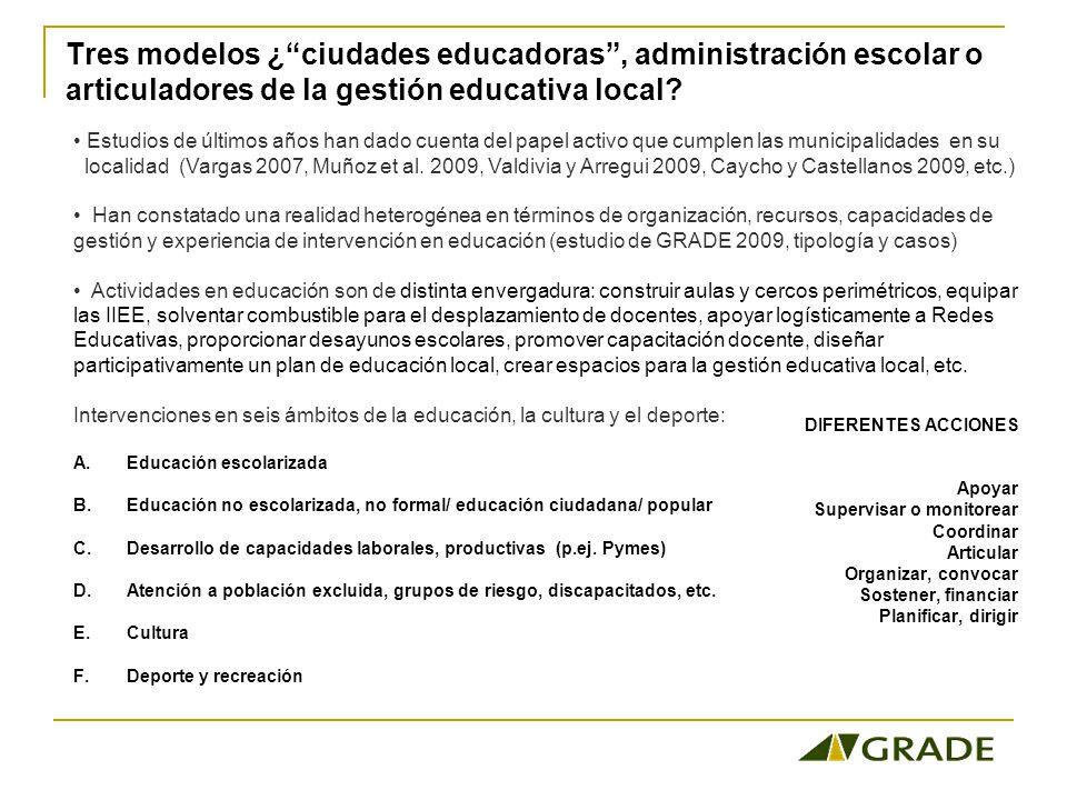 Tres modelos ¿ ciudades educadoras , administración escolar o articuladores de la gestión educativa local