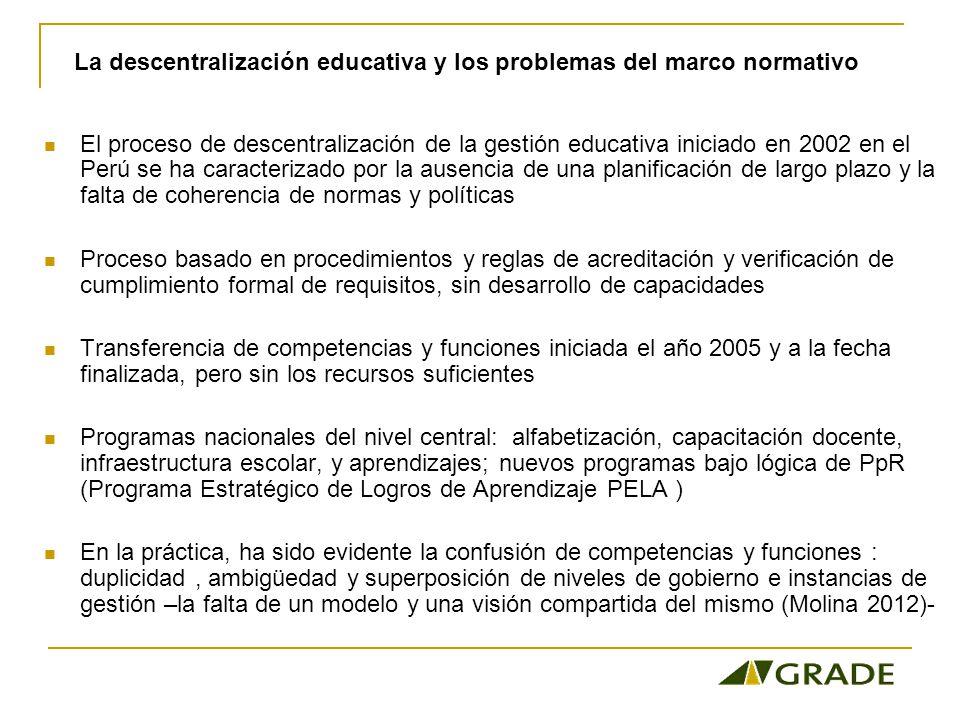 La descentralización educativa y los problemas del marco normativo