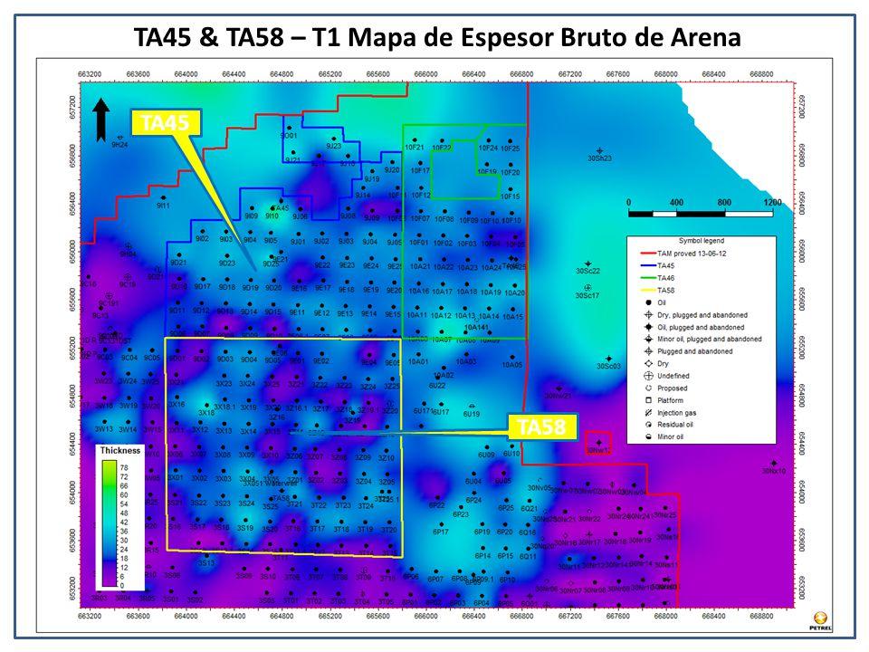 TA45 & TA58 – T1 Mapa de Espesor Bruto de Arena