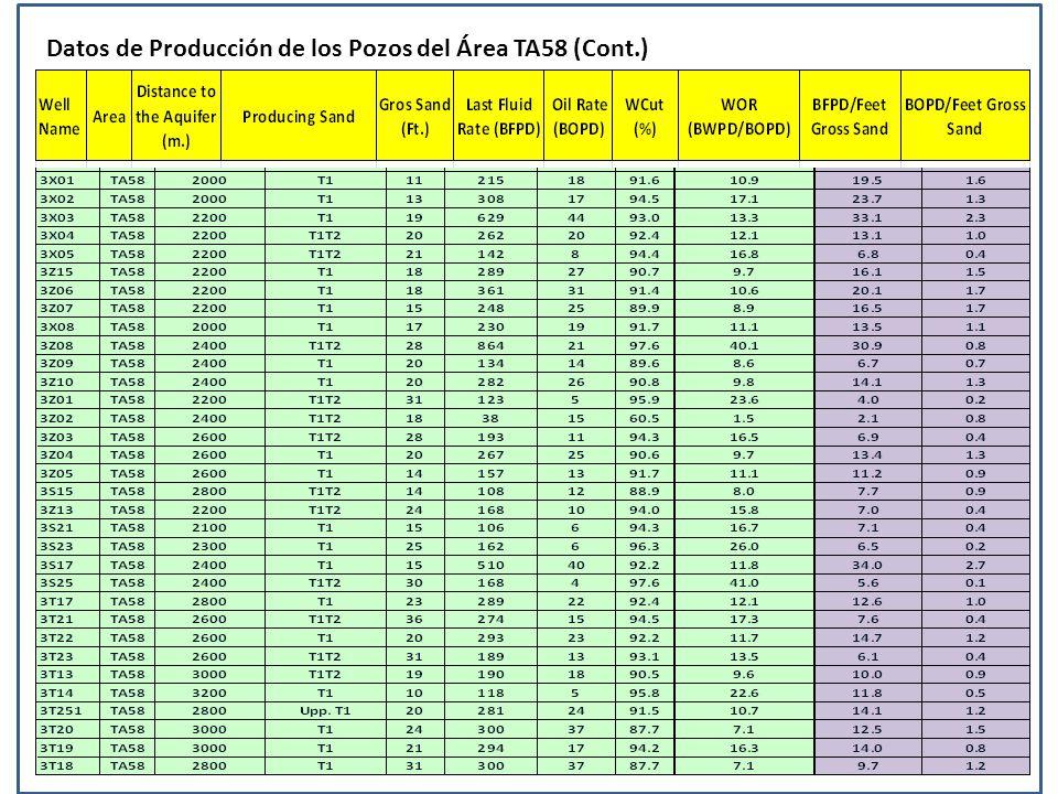 Datos de Producción de los Pozos del Área TA58 (Cont.)