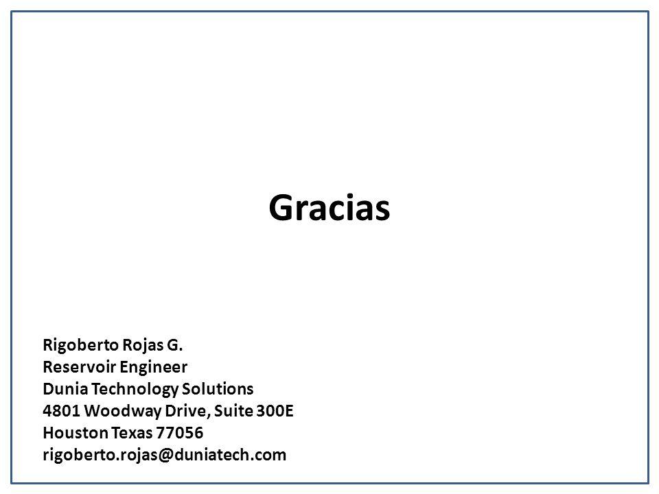 Gracias Rigoberto Rojas G. Reservoir Engineer