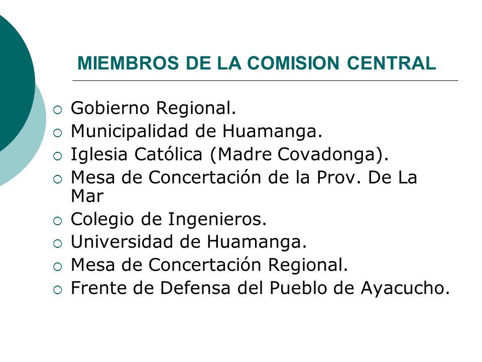MIEMBROS DE LA COMISION CENTRAL