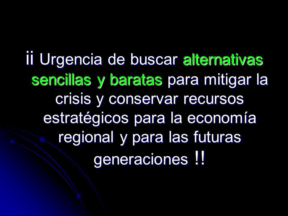 ii Urgencia de buscar alternativas sencillas y baratas para mitigar la crisis y conservar recursos estratégicos para la economía regional y para las futuras generaciones !!