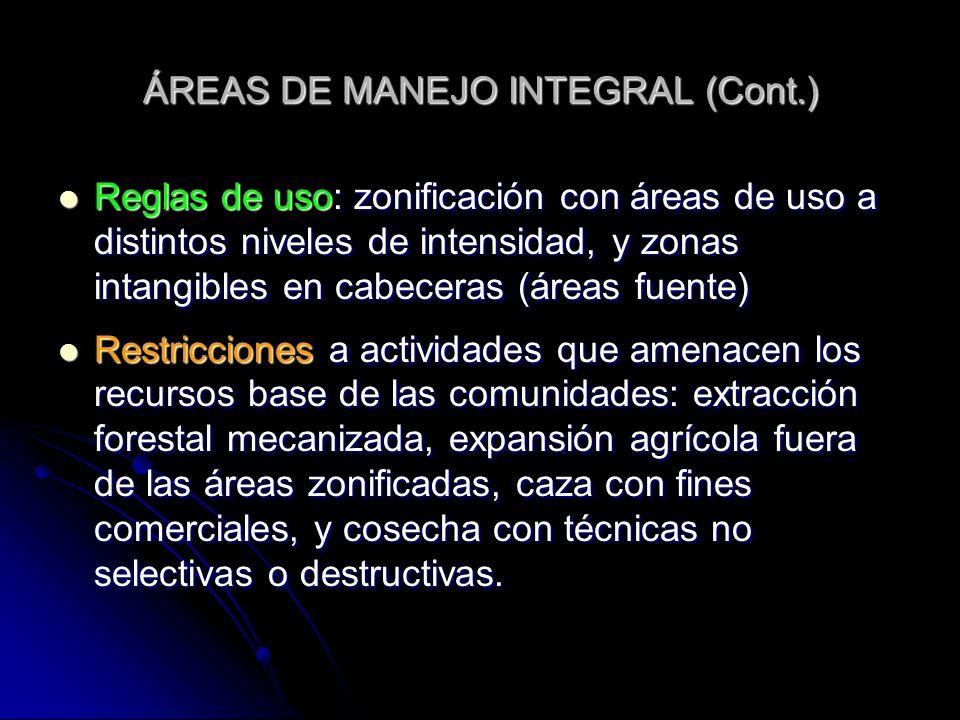 ÁREAS DE MANEJO INTEGRAL (Cont.)
