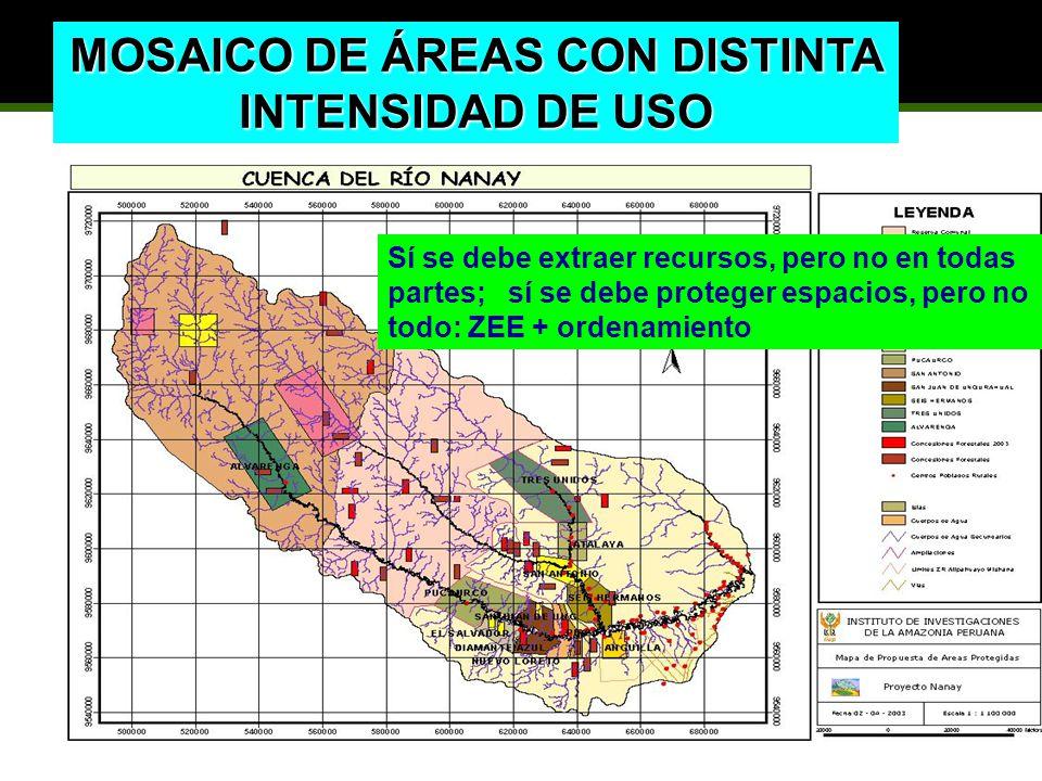 MOSAICO DE ÁREAS CON DISTINTA INTENSIDAD DE USO