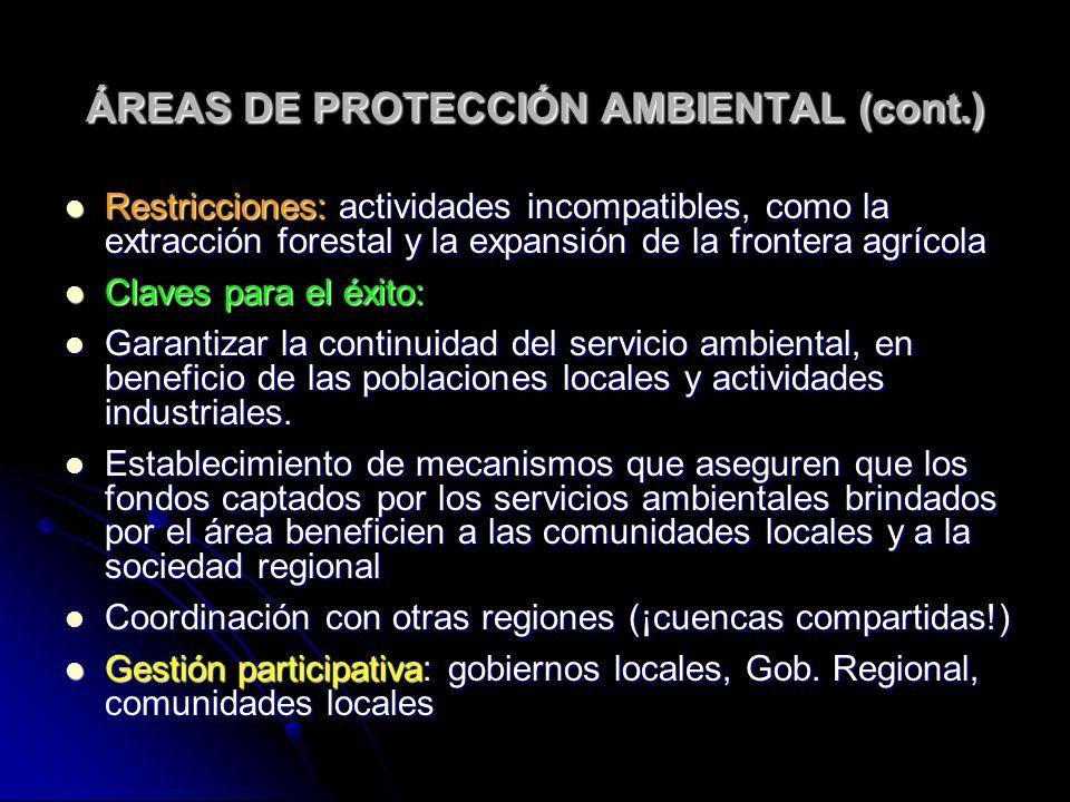 ÁREAS DE PROTECCIÓN AMBIENTAL (cont.)