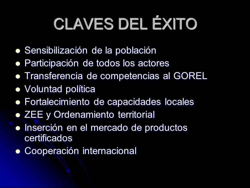 CLAVES DEL ÉXITO Sensibilización de la población