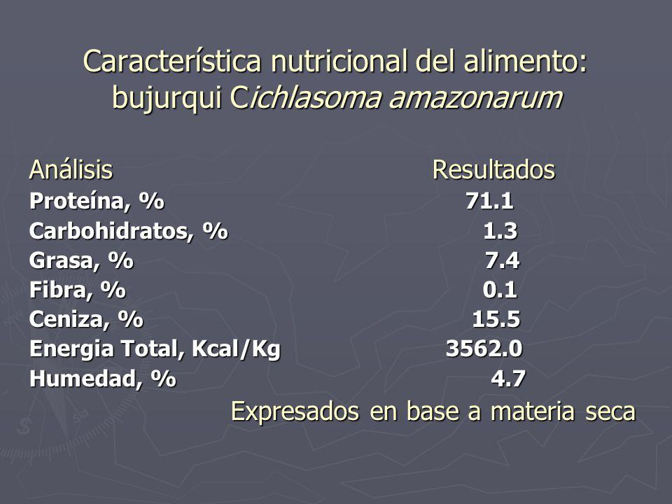 Característica nutricional del alimento: bujurqui Cichlasoma amazonarum