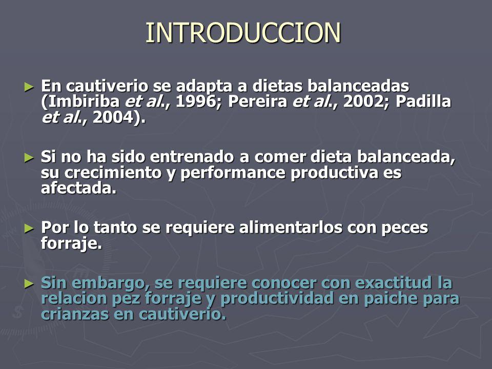 INTRODUCCION En cautiverio se adapta a dietas balanceadas (Imbiriba et al., 1996; Pereira et al., 2002; Padilla et al., 2004).
