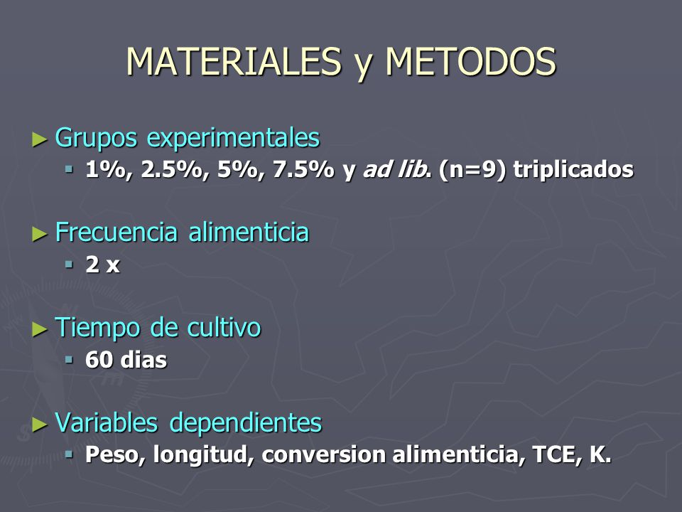MATERIALES y METODOS Grupos experimentales Frecuencia alimenticia