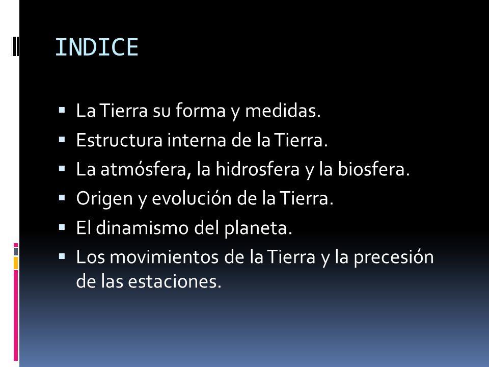 INDICE La Tierra su forma y medidas. Estructura interna de la Tierra.