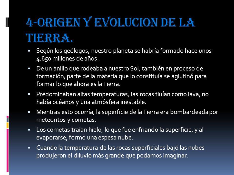 4-ORIGEN Y EVOLUCION DE LA TIERRA.