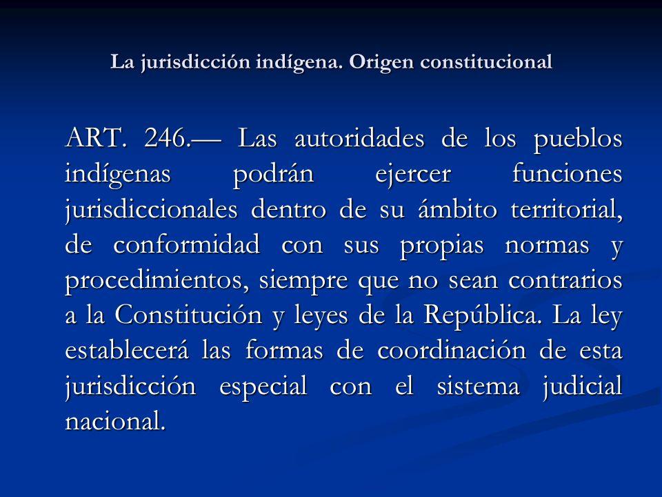 La jurisdicción indígena. Origen constitucional