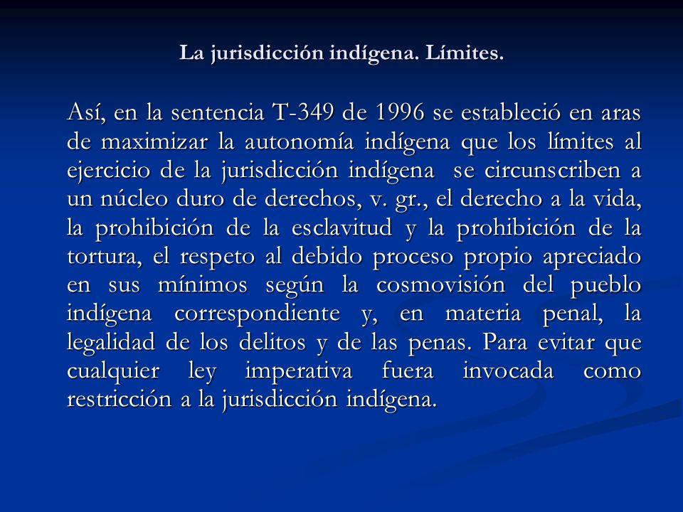 La jurisdicción indígena. Límites.