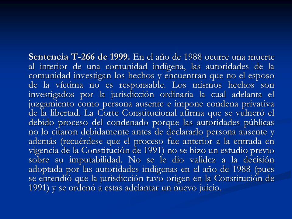 Sentencia T-266 de 1999.