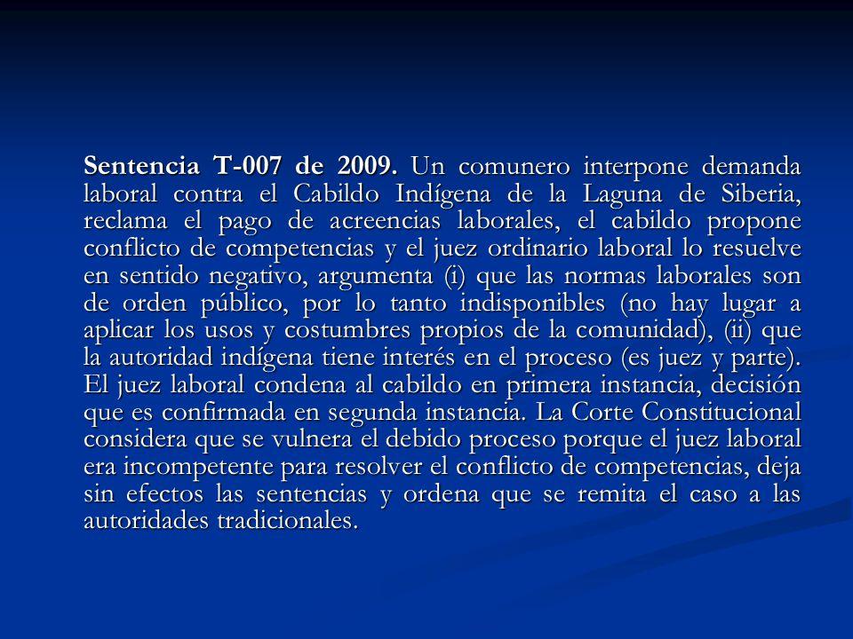 Sentencia T-007 de 2009.