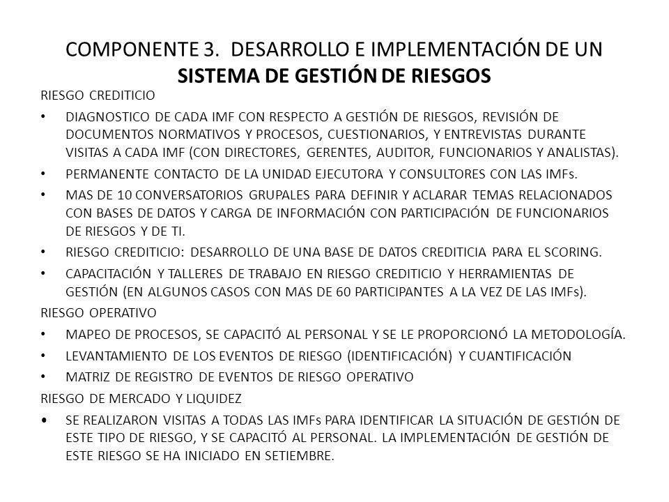 COMPONENTE 3. DESARROLLO E IMPLEMENTACIÓN DE UN SISTEMA DE GESTIÓN DE RIESGOS