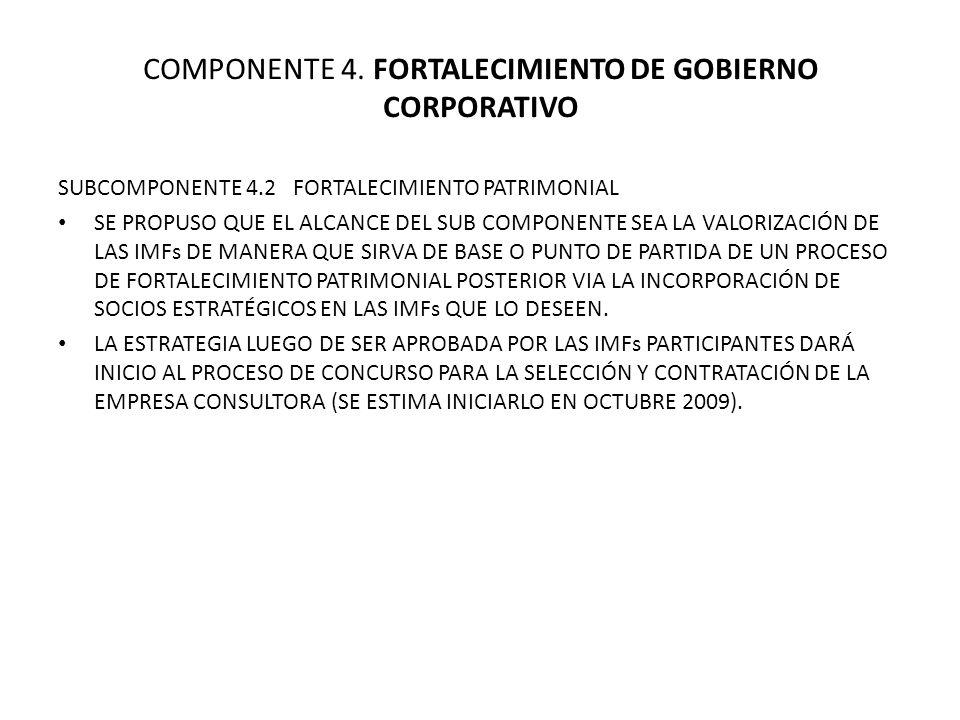 COMPONENTE 4. FORTALECIMIENTO DE GOBIERNO CORPORATIVO