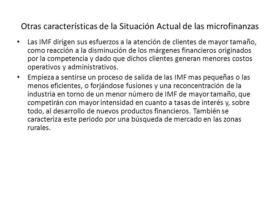 Otras características de la Situación Actual de las microfinanzas
