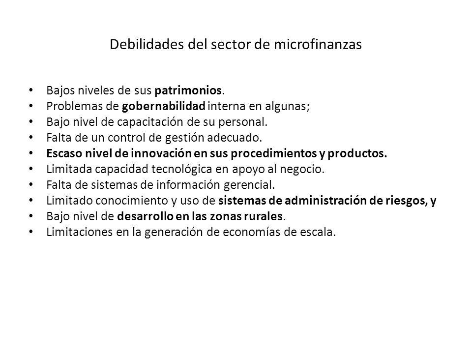 Debilidades del sector de microfinanzas