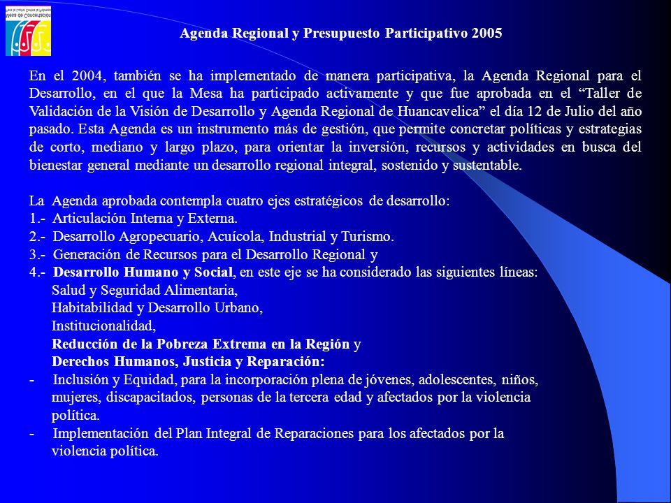 Agenda Regional y Presupuesto Participativo 2005