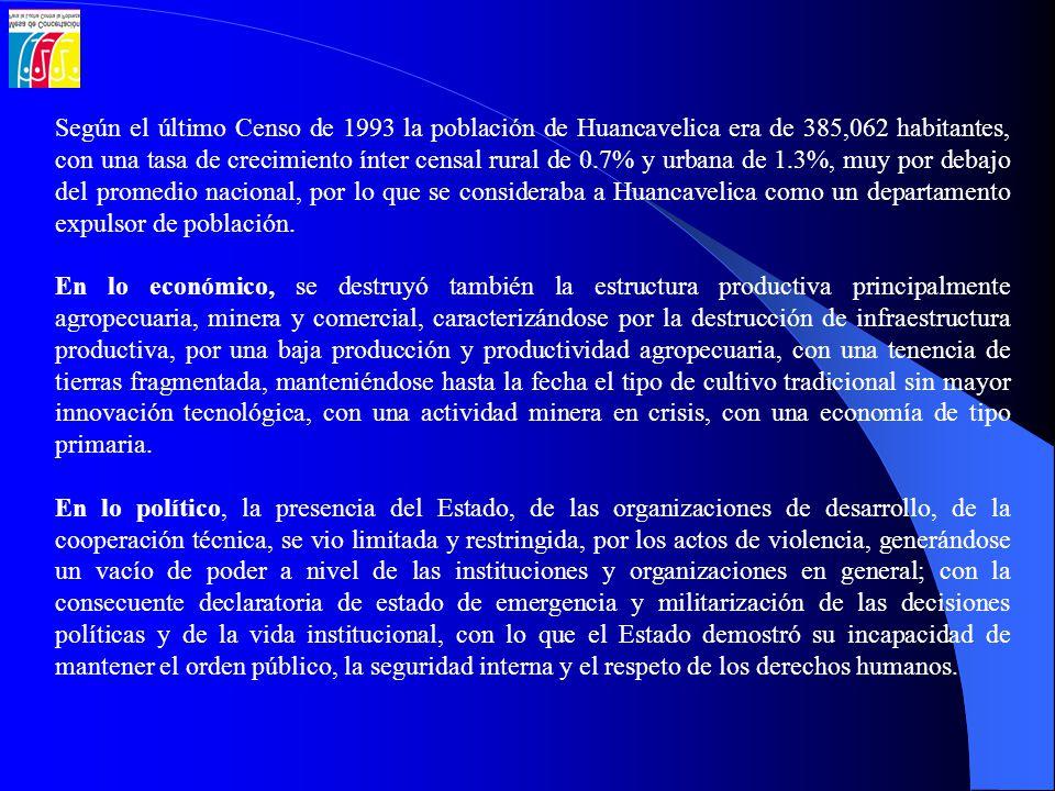 Según el último Censo de 1993 la población de Huancavelica era de 385,062 habitantes, con una tasa de crecimiento ínter censal rural de 0.7% y urbana de 1.3%, muy por debajo del promedio nacional, por lo que se consideraba a Huancavelica como un departamento expulsor de población.