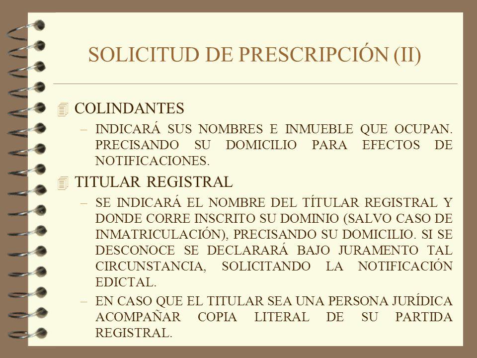 SOLICITUD DE PRESCRIPCIÓN (II)
