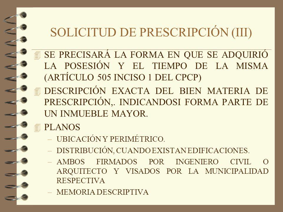 SOLICITUD DE PRESCRIPCIÓN (III)