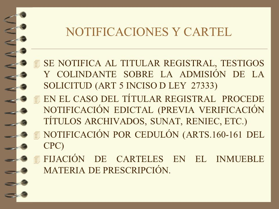 NOTIFICACIONES Y CARTEL