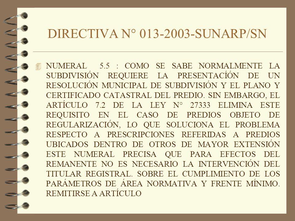 DIRECTIVA N° 013-2003-SUNARP/SN