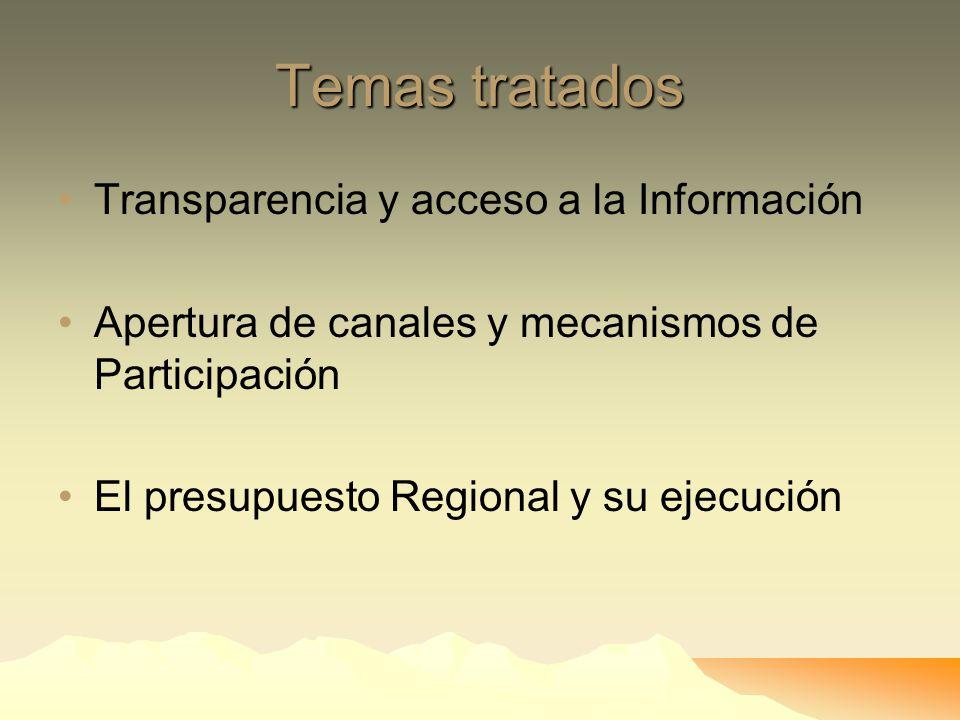 Temas tratados Transparencia y acceso a la Información