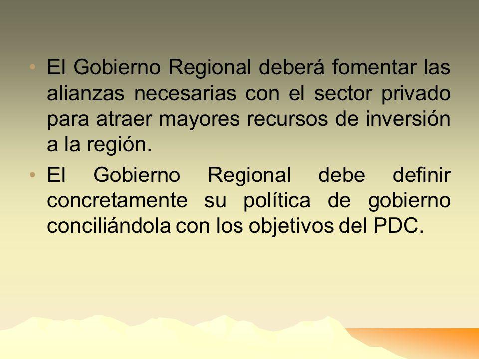 El Gobierno Regional deberá fomentar las alianzas necesarias con el sector privado para atraer mayores recursos de inversión a la región.