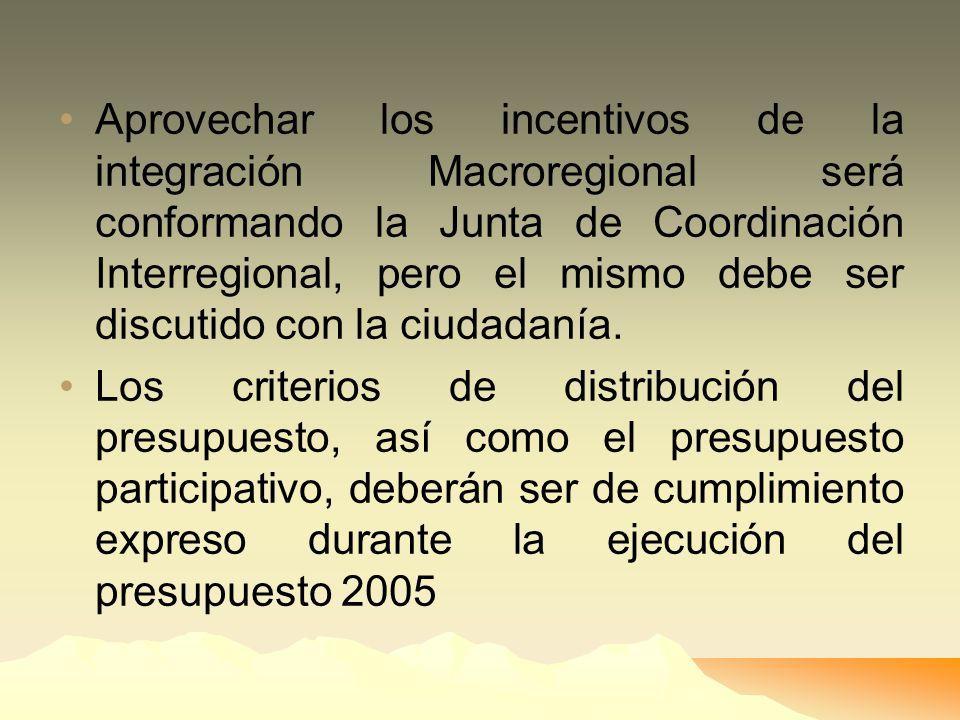 Aprovechar los incentivos de la integración Macroregional será conformando la Junta de Coordinación Interregional, pero el mismo debe ser discutido con la ciudadanía.