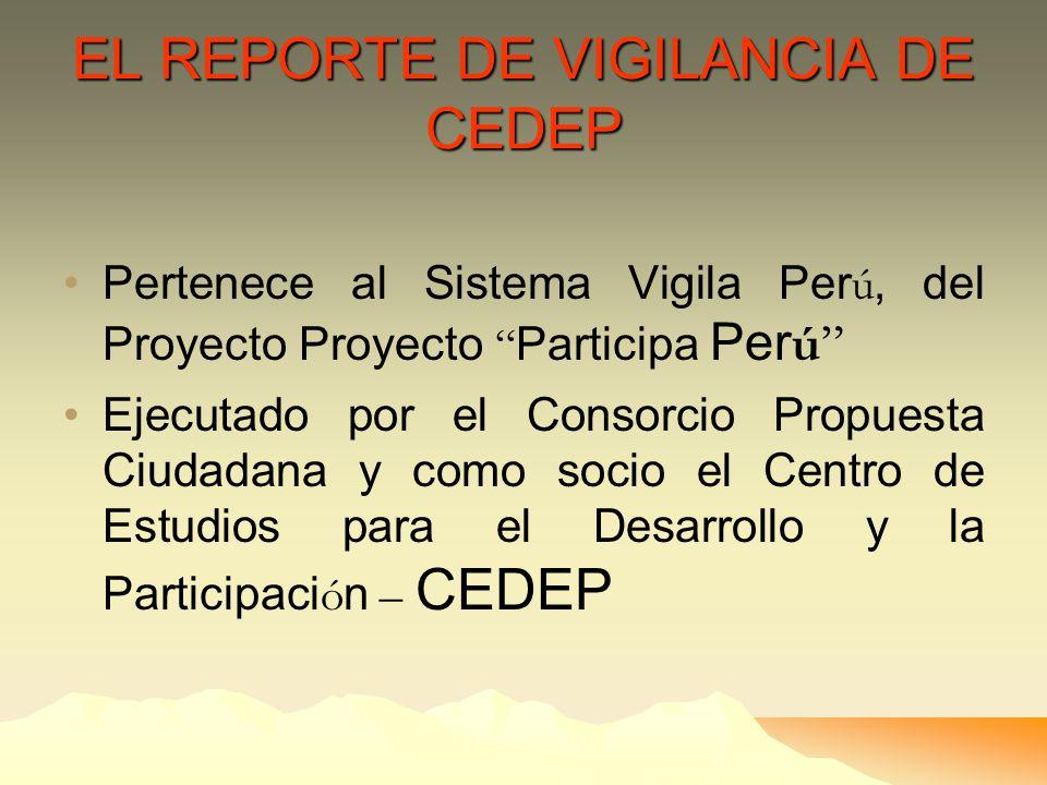 EL REPORTE DE VIGILANCIA DE CEDEP
