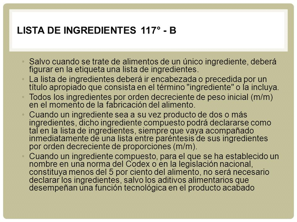 LISTA DE INGREDIENTES 117° - b