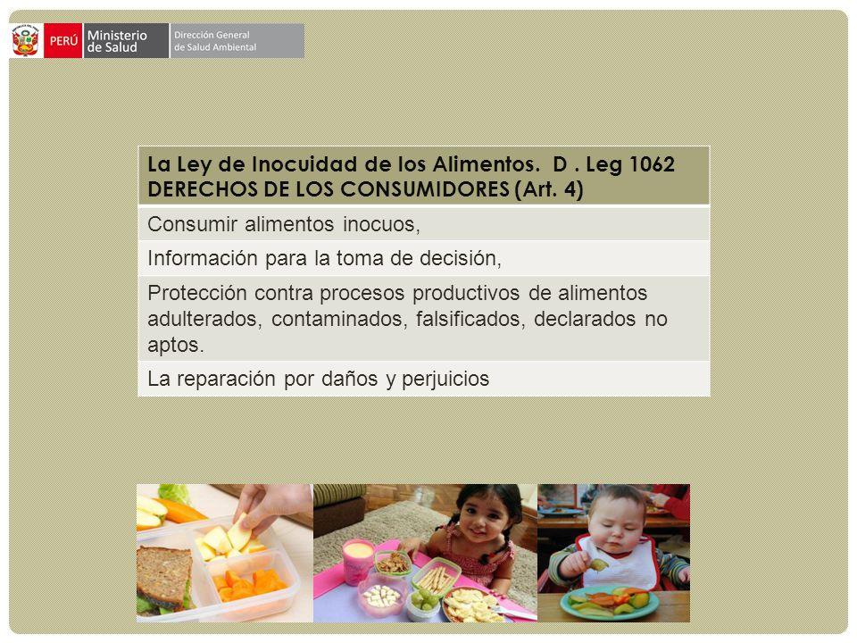 La Ley de Inocuidad de los Alimentos. D . Leg 1062
